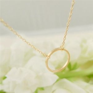 Circle Pendant Gold Necklace Simple Jewelry